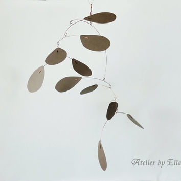 Hanging Art Mobile , Brown , Kinetic Sculpture