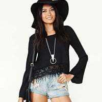 Black Lace Fringed Trumpet Sleeves High-Low Chiffon Top