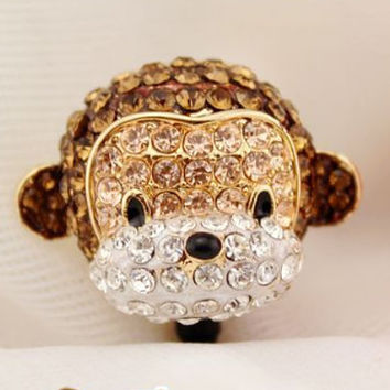 1pcs of Crystal 3D Monkey Earphone Cap Dust Plug  Plated Real Gold for iPhone 5 & 4 Headphone 3.5mm