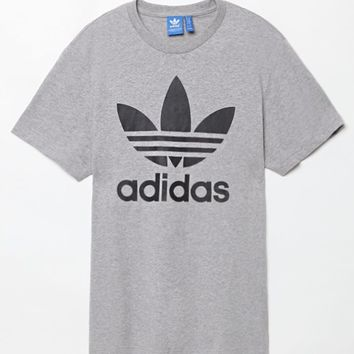 adidas Originals Trefoil Grey Heather & Black T-Shirt - Mens Tee - Grey Heather/Black