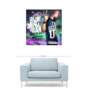 "Juicy J - Blue Dream & Lean Mixtape Cover 20"" x 20"" Premium Canvas Gallery Wrap Home Wall Art Print"