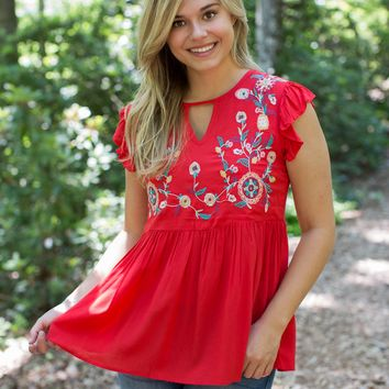Nora Embroidered Top, Tomato