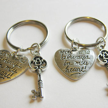 2 Key You Are Always In My Heart Keychains Best Friends BFF Sisters Couples