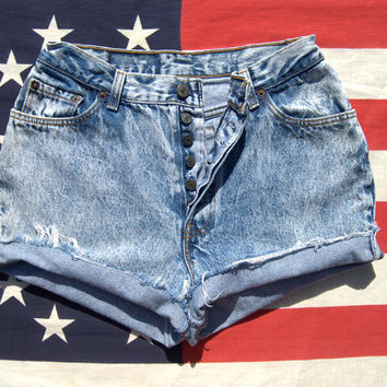 30 Waist Vintage Levis 544 6 Button Fly Cutoffs / Aged Acid Wash Levi High Waisted Denim Shorts - 90s Grunge Destroyed Cut Off Shorts
