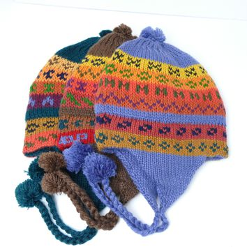 "9 Assorted Thick Alpaca Wool ""Chullo"" Hat ( $6 Unit Price)"