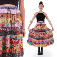 70s Patchwork Colorful Tiered Hippie Boho Festival Maxi Midi Skirt Inidia Rayon Ethnic Print Vintage Clothing Womens Size Small Medium XL