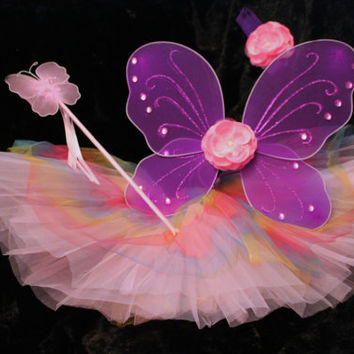 Rainbow butterfly fairy, purple wings with a pink rose, rainbow tutu, wand, headband and clip. Good for kids - petite adults- ready to ship