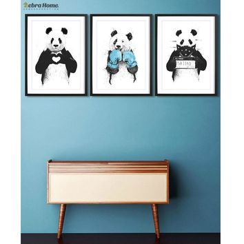 Hand Draw Panda Sketch Canvas Art Print Poster Minimalist Hipster Diy Painting Lovely Gift For Nursey Kids Room Home Decoration