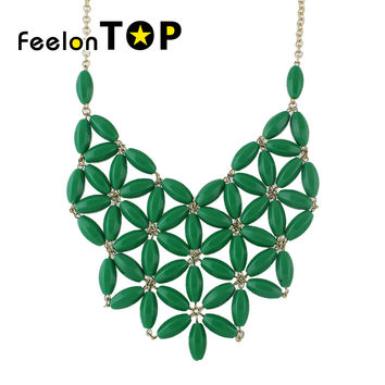 Gold Color Alloy Chains Beads Imitation Gemstone Necklace Costume Jewelry Fashion Designer For Women