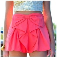 Bow Shorts - Neon Pink