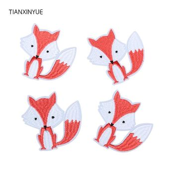 TIANXINYUE 20 pcs Fox Patches Iron On DIY Embroidered Appliques Sewing On For Clothing fabric Bags Cartoon Animal patch