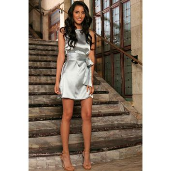 Silver Grey Sleeveless Trendy Cocktail Party Shift Mini Dress