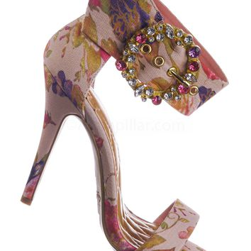 Girltalk23 by Anne Michelle Colorful Satin High Heel Dress Sandal w Rhinestone Crystal Buckle