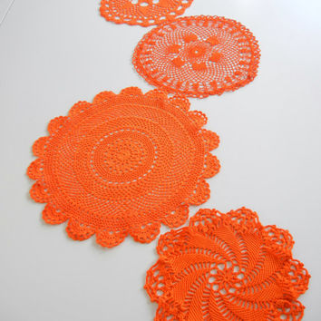 Hand Dyed Vintage Doily Set / Orange cotton / set of 5 / Create Cinco de Mayo table runner / Upcycle / Orange Doilies / Halloween
