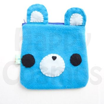 Back to School SALE - Bear Pouch - Kawaii Animal Pencil Case, Blue Make Up Pouch
