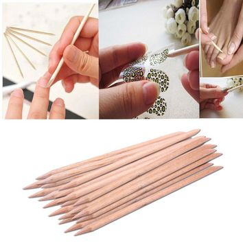 20Pcs Nail Art Orange Wood Stick Cuticle Pusher Remover Pedicure Manicure Tool