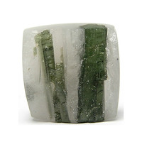 "Green Tourmaline Crystals in Quartz Stone Cabochon ""Faux Druzy"" Loose Unset Tourmilated Quartz Gemstone"