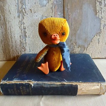 Vintage Velvet Duckling: vintage look, soft sculpture, artist bear. Perfect heirloom gift, baby room/ child's room, or for the child in you!