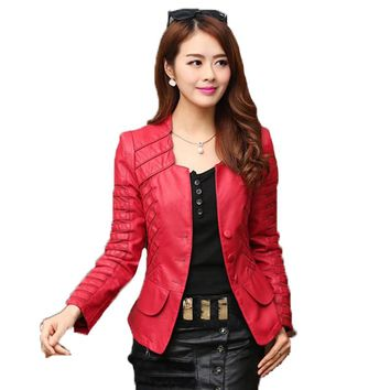 Spring And Faux Leather Jacket Women Casual Long Sleeve Short Coat Fashion Plus Size Jacket Femininas New Low Price