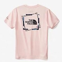 The North Face 2019 new men's and women's cotton casual short-sleeved T-shirt Pink
