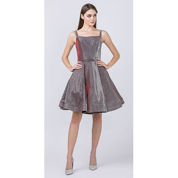 Glittery Homecoming Short Burgundy Dress with Double Straps