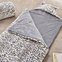 Faux Fur Sleeping Bag, Grey Cheetah