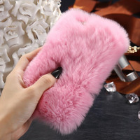 Fashion For Cute Lady Smooth Soft Touch Fur Case for Apple iPhone 6 6S 4.7 /6 6S Plus 5.5 Fundas Back Protective Phone Cover