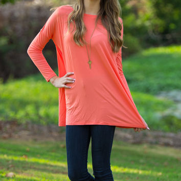 The Perfect Piko Tunic Top-Dark Peach
