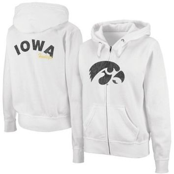 NCAA Iowa Hawkeyes Womens Cozy Full Zip Hoodie - White