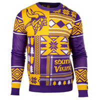 Minnesota Vikings Forever Collectibles KLEW Patches Ugly Sweater Sizes S-XXL w/ Priority Shipping