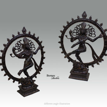 "Shiva Nataraja 13.4""Lord Of Dance Destroyer Of Ignorance In The World; New Life & Renewal.Bronze Shiva In A Ring Of Fire Hindu God Diety"