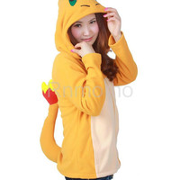 Charmander Hoodie w/ Tail Zip Up Front Unisex Pokemon Sweatshirt with Hood and Logo