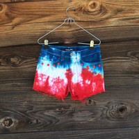 Red White and Blue Dyed Shorts - Studded Pockets - Size 3