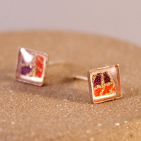 Sterling Silver Origami Paper Square Stud Earrings with Resin- Purple, Red and Gold