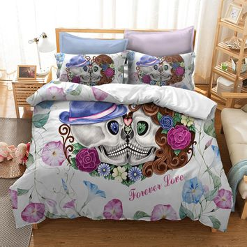 Cilected Mr Mrs Couple Skull Forever Love Duvet Cover Set Pillow Cases 2/3Pcs Bedding Set Wedding Gift Single/Double/King/Queen