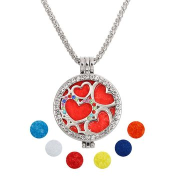 Awesome Diffuser Essential Oils Locket Necklace with Heart and Crystal Accents Silver Tone