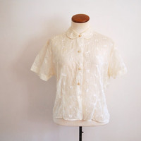 50s sheer white blouse - vintage glenwear floral embroidered short sleeve shirt - peter pan collar