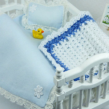 Dollhouse Miniature Baby Blue Crib Blanket Small Cradle Little Doll Scale Tiny Pillow Mini Afghan Nursery Room Artisan Decor Collector Hobby