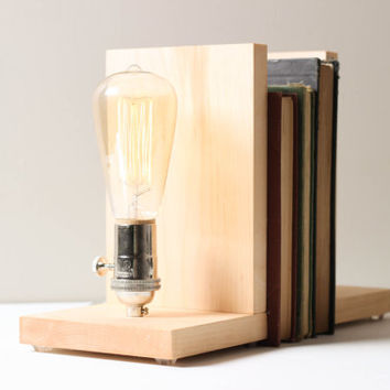 Signature Bookends Maple- Modern Bookends, Book Accesories, Solid Maple, Edison Bulb Lamp, Modern Lighting