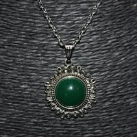 Silver/ Green Stone Flower Shaped Pendant Necklace