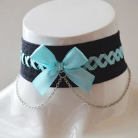 Pastel Gothic choker - Chained neon - black and neon blue gothic choker with lacing - cosplay larp con - lolita neko kitten pet play collar