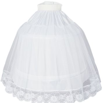 Half Hoop Petticoat with 2 Wire Stays, Soft Nylon and Lace Hem  (Girls 2T - Size 10)