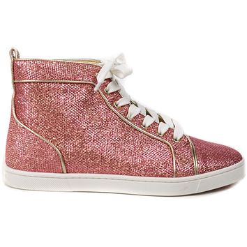 Christian Louboutin Sneakers Womens Glitter Canvas  Pink White Sparkles High Tops US 7.5 UK37.5