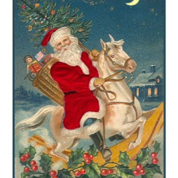 Victorian Father Christmas Santa Riding A Rocking Horse Counted Cross Stitch or Counted Needlepoint Pattern