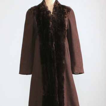 Vintage 1940s Brown Wool and Mouton Fur Winter Coat