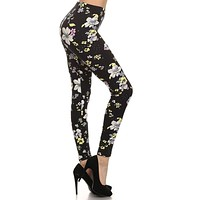 Pastel Floral Graphic Print Lined Leggings
