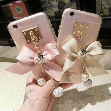 For iphone 5 5S 6 6S 7 8 Plus X Luxury Girls Rhinestone Diamond Big Bow Bowknot Transparent soft Phone case Back cover Handmade