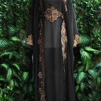 Cute Moroccan Black Chiffon Hoodie Caftan Fancy FULL Gold Embroidery Dubai Abaya Maxi Dress farasha Hijab Style Jalabiya