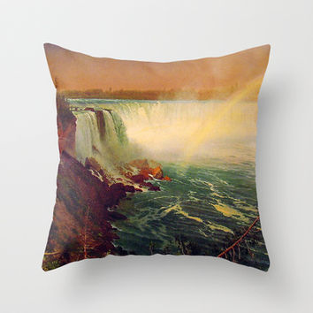 Bierstadt Albert. Niagara Falls.  Vintage landscape oil painting. Throw Pillow by ArtsCollection