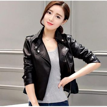 Womens Slim Fit Front Zipper Vegan Leather Biker Jacket